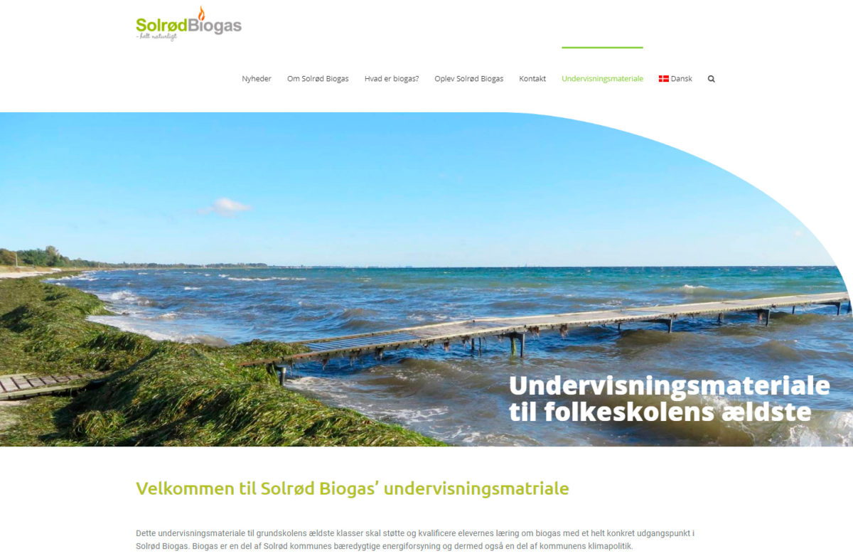 Forside til Solrød Biogas' undervisningsportal